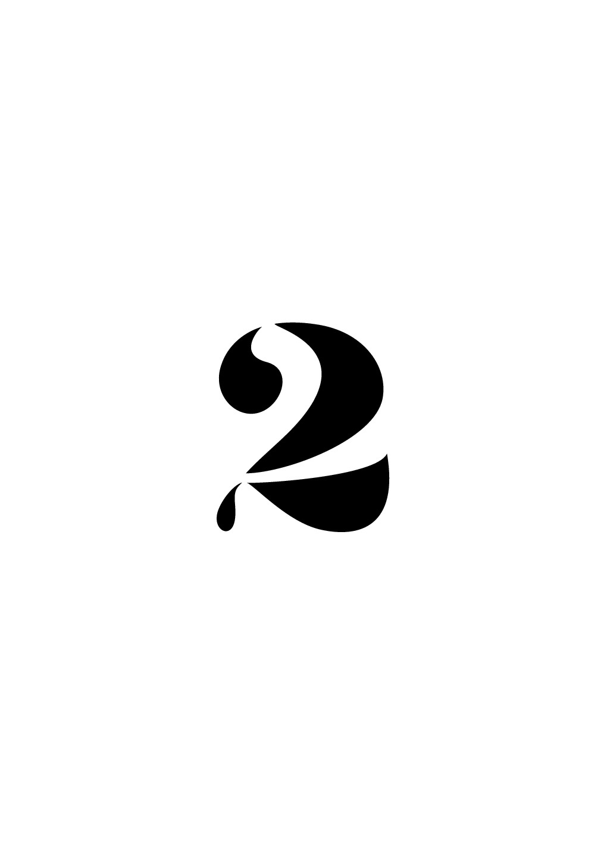 Design a number '2' for a wine label