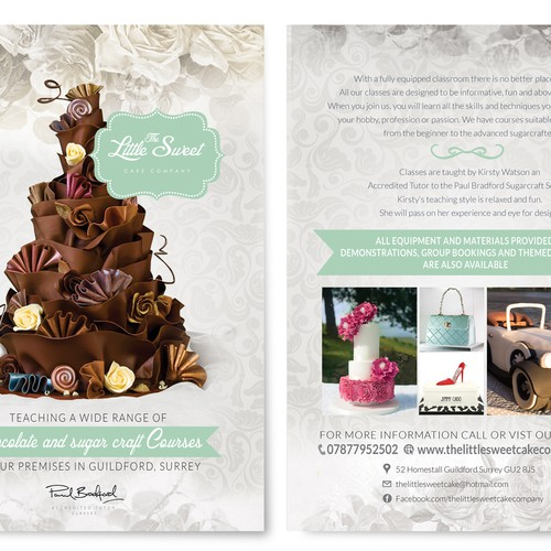Create a A5 Shabby Chic Vintage Business Flyer for my cake decorating classes