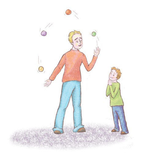 Book illustration, Father and son