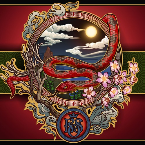 Oriental illustration for King of Snake menu.