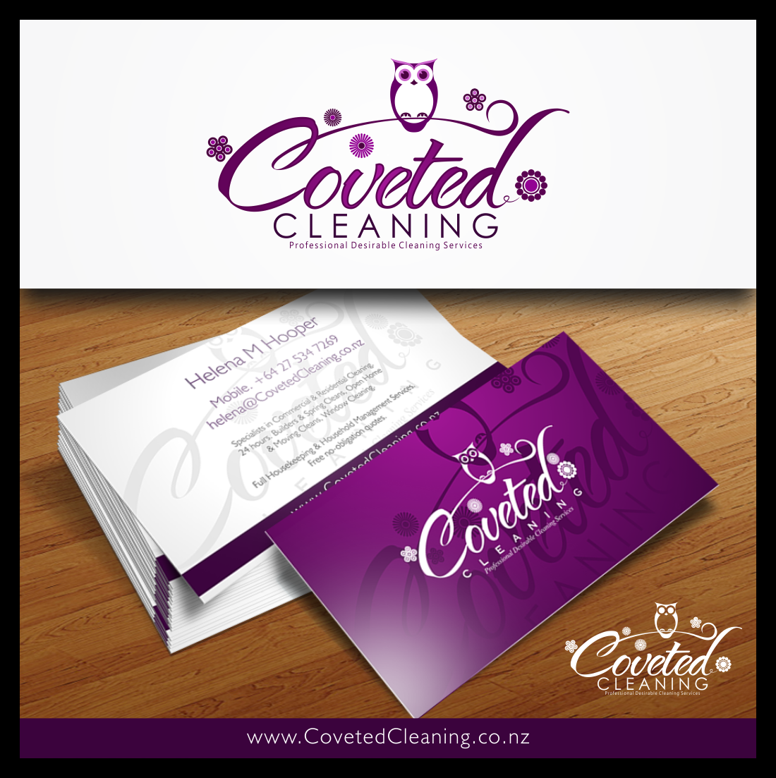 Logo and business card: Coveted Cleaning / Capri Cleaning