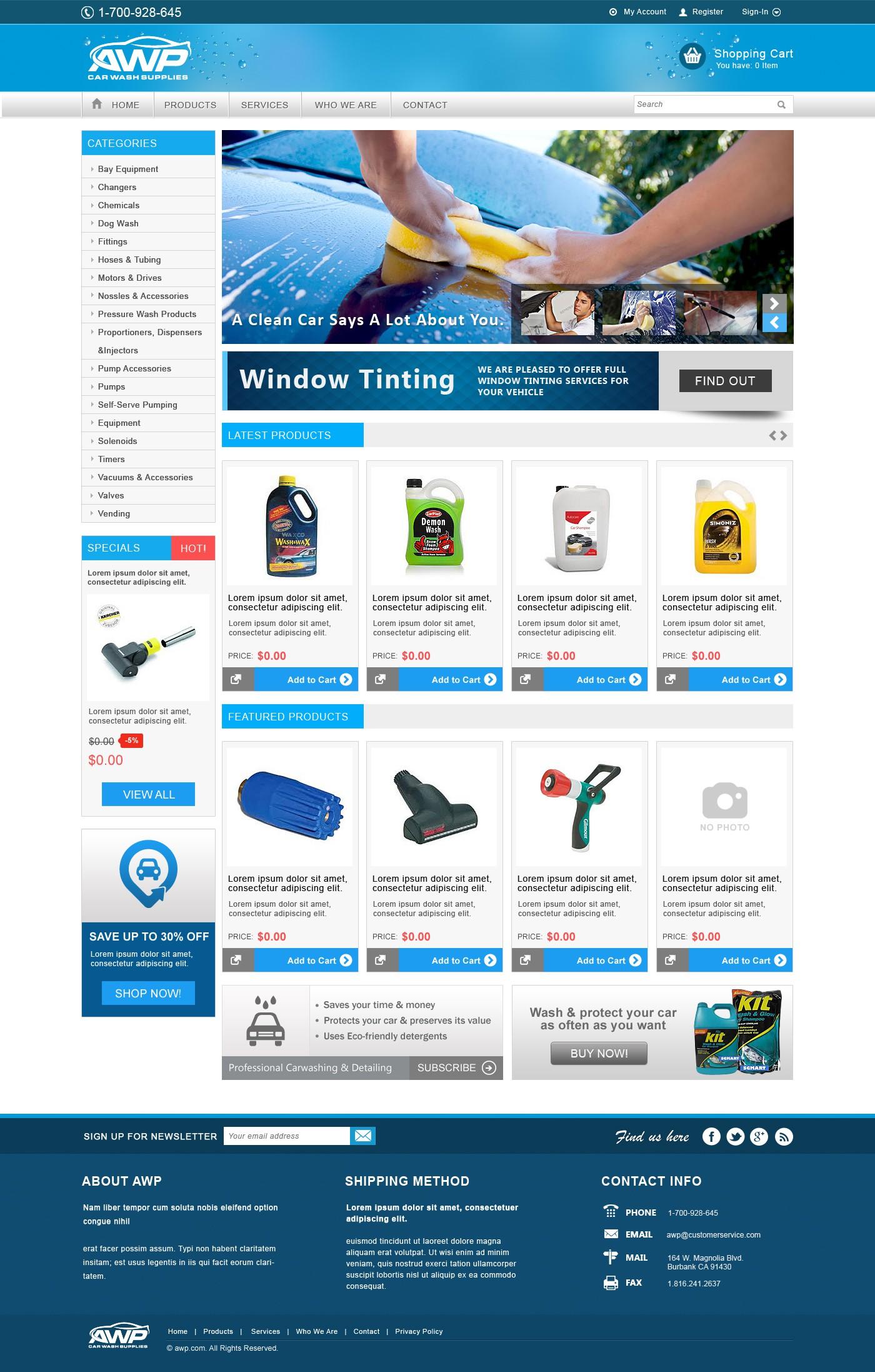 E-Commerce design for AWP Car Wash Supplies