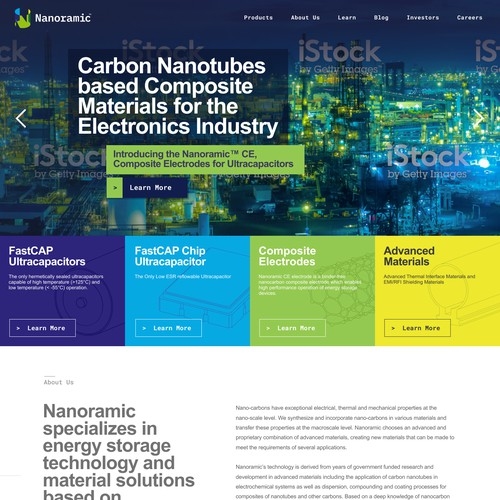 Homepage for technology company