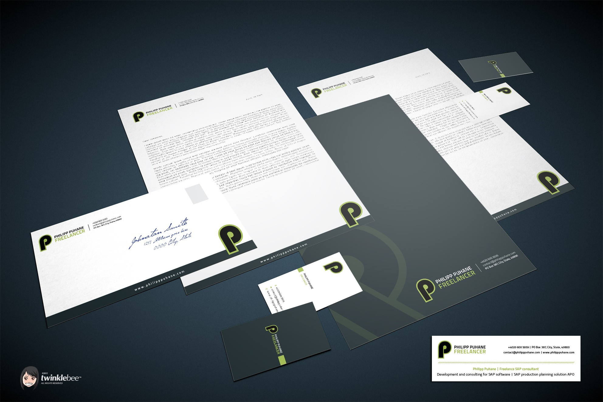Freelance SAP consultant needs design for business card, stationery and E-Mail signature