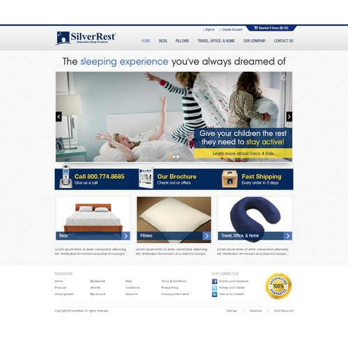 Web design for SilverRest Sleep Products