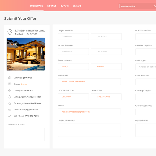 Management application for real estate agents to manage their listings