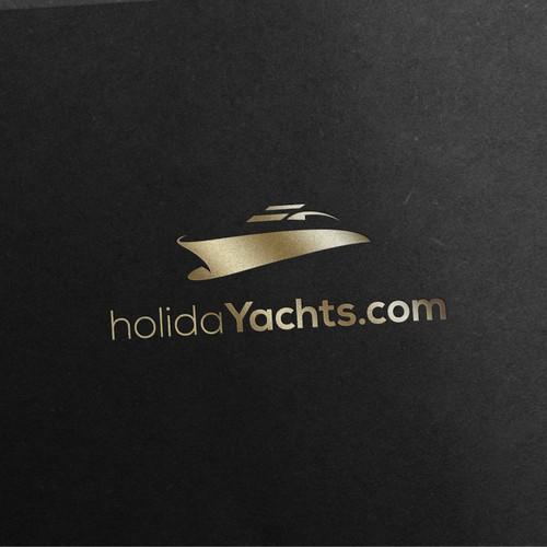 Elegant and beautiful yacht logo