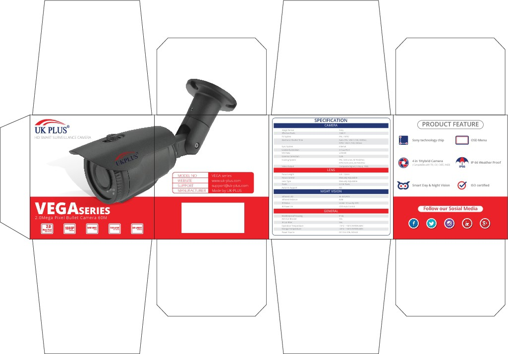 Minimal kickass design for surveillance Cameras package.