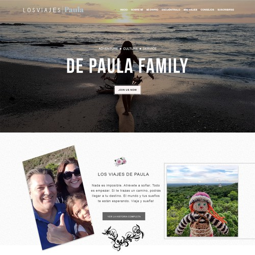 Home Page Design for Travel Blog Site