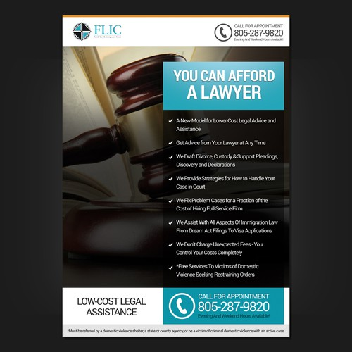 Create a beautiful yet simple flyer for legal/law clinic