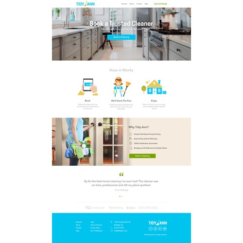 Create a Converting Home Page for a Home Cleaning Company