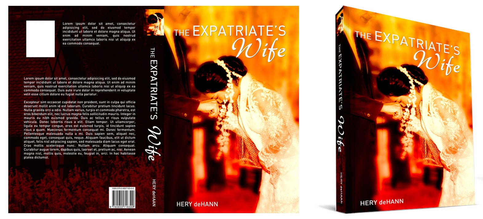 """The Expatriate's Wife"" , Author Hery deHaan, book cover design"