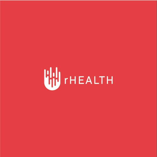 Create an iconic logo for rHEALTH, a biotechnology company.