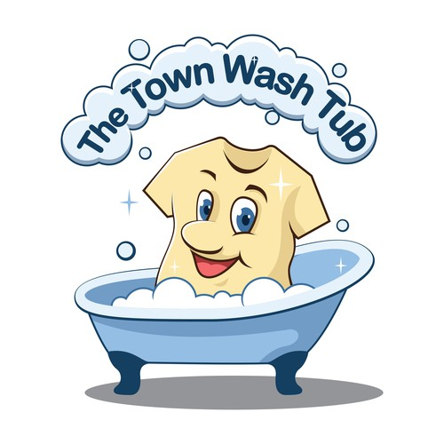 Mascot Logo for The Town Wash Tub