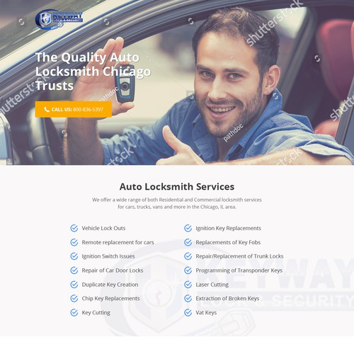 Keyway Auto Locksmith Landing Page PPC Campaign
