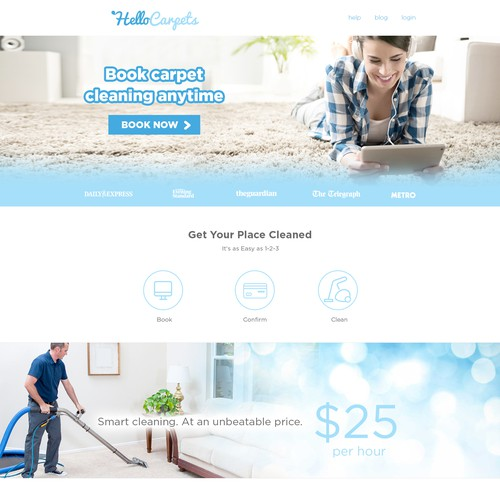 Homepage for a venture backed startup