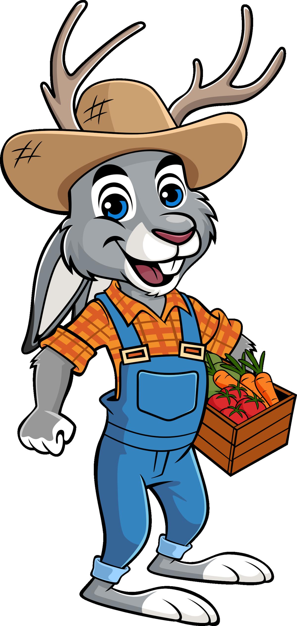 Jackalope artwork - farmer for farmers market