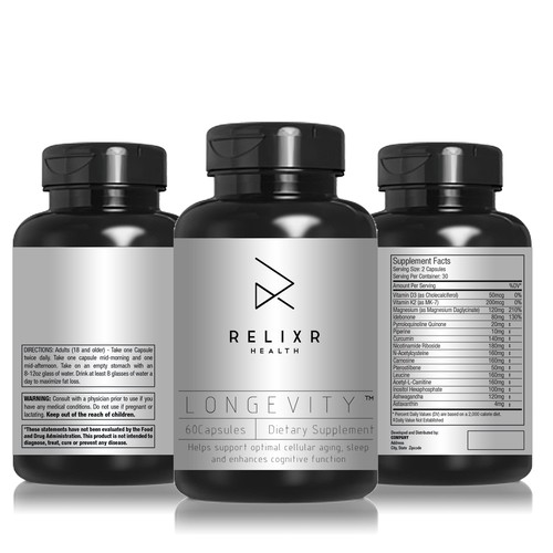 Label for an innovative Life Extension dietary health supplement