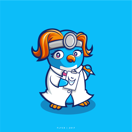 Cute Macaroni Penguin Character for Orthodontic Office