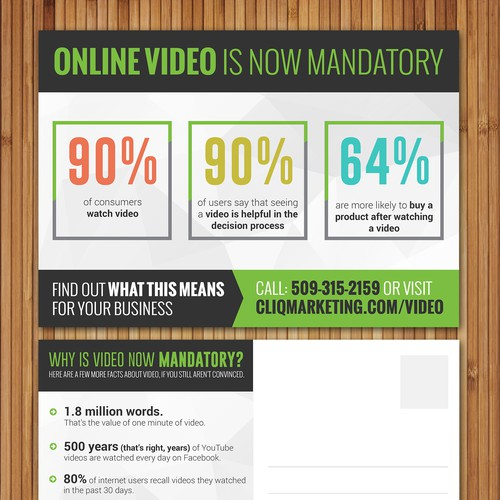 Design an eye-catching Direct Mail postcard for Video marketing company