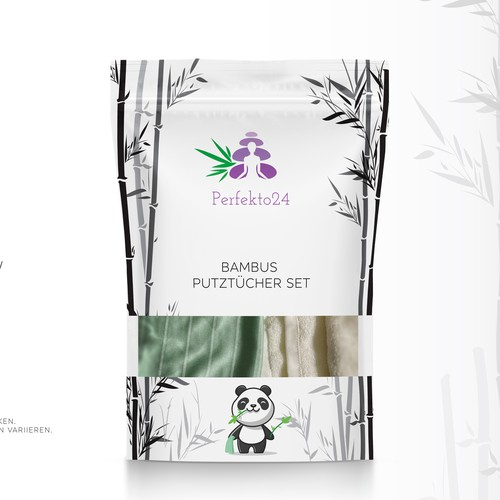 Minimal Bamboo cleaning cloth set Packaging design