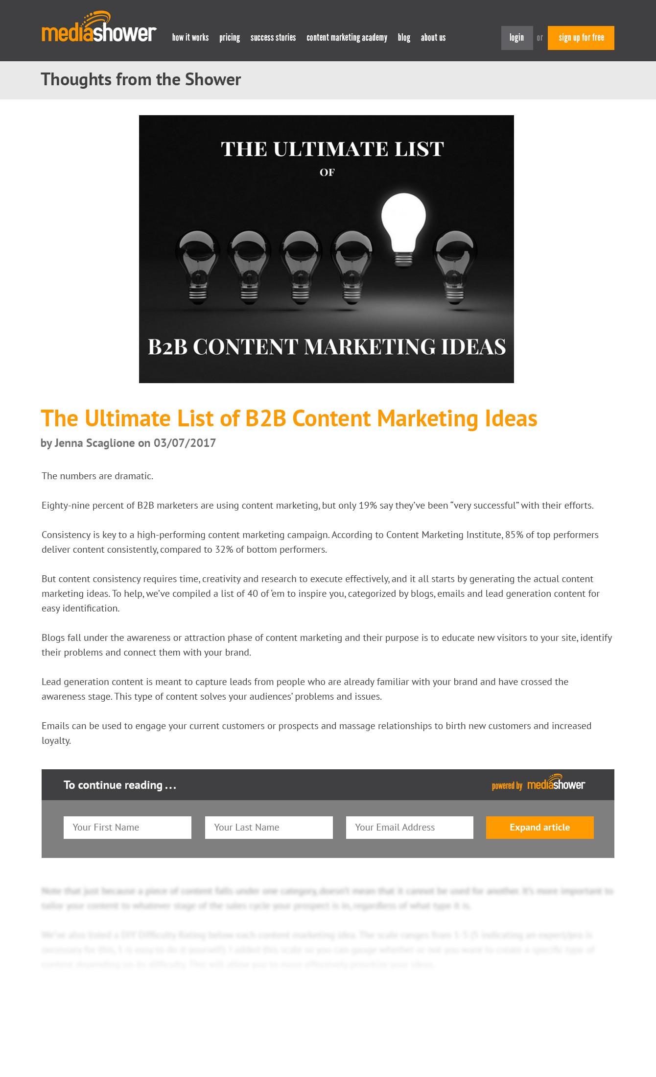 Blog expandable content post