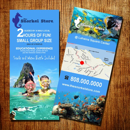 Create a fun 4in X 9in brochure for a new shoreline snorkel tour company. Shorline Xpress Snorkel.