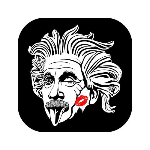 Albert Einstein Kissing Logo
