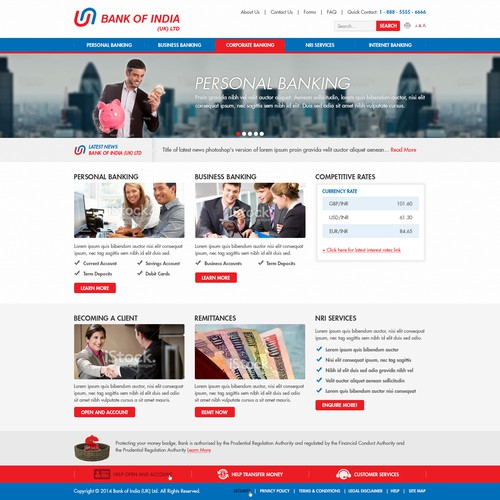 Create a home page design for financial institution