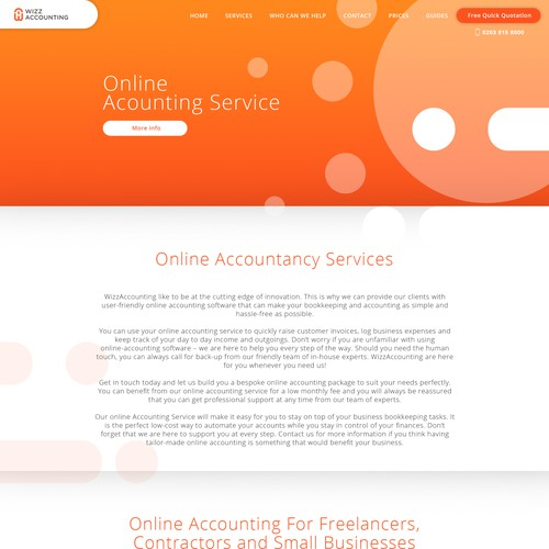 online accounting service homepage design