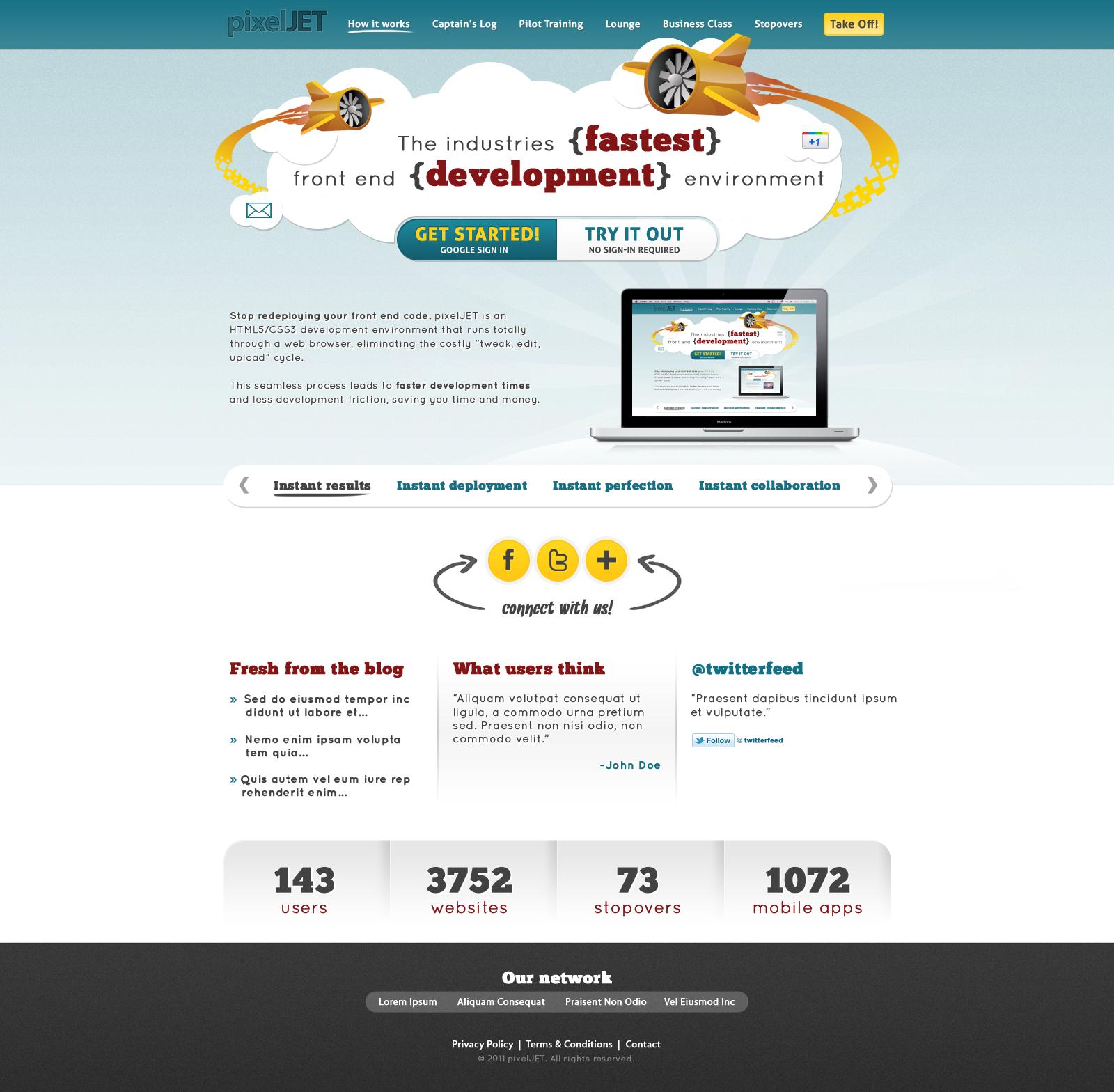 website design for pixelJET