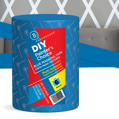 design label for blue painters masking tape