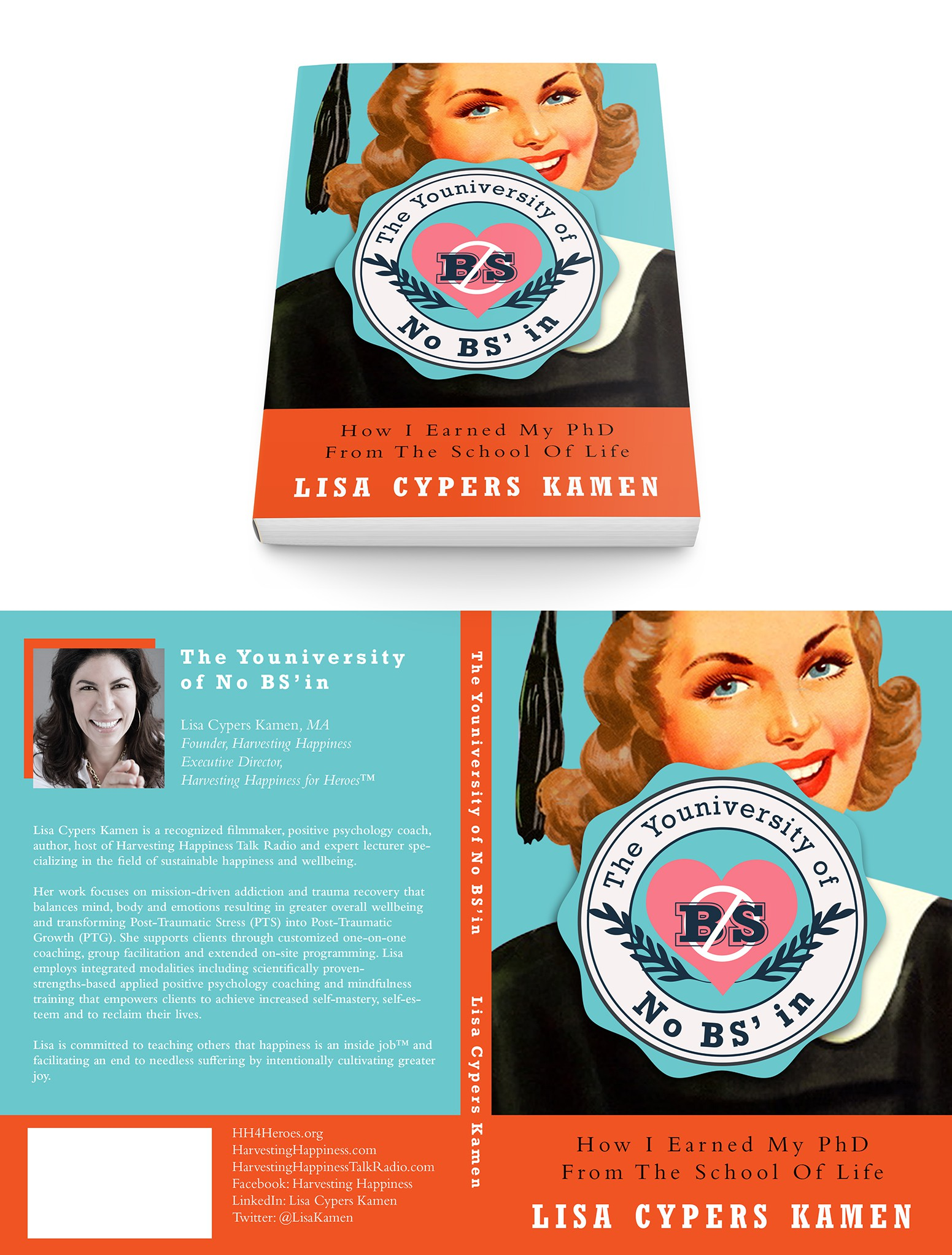 Create a kitschy book cover with heart and soul