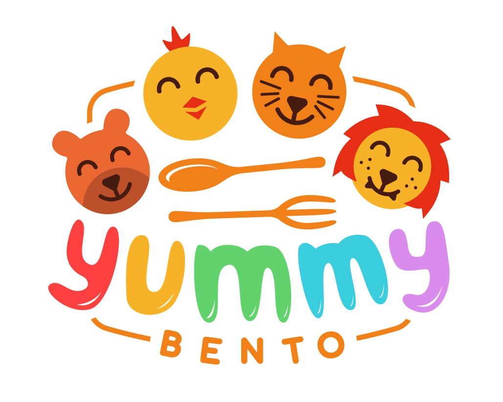 Kid-friendly colorful logo and website for a bento kids lunch box business.