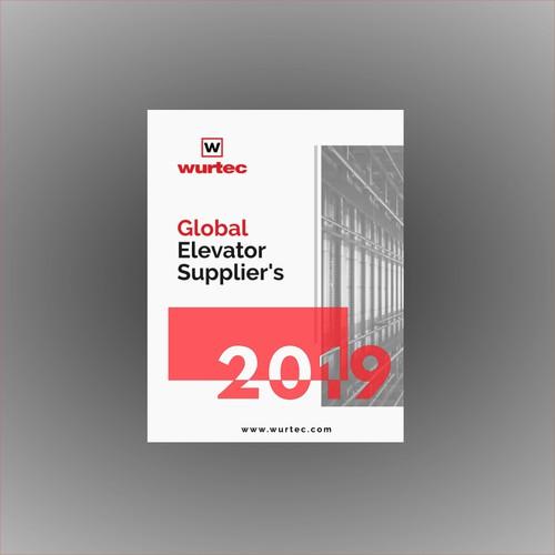 Design a Global Elevator Supplier's front cover.