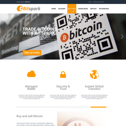 Create a winning landing page for a bitcoin exchange startup