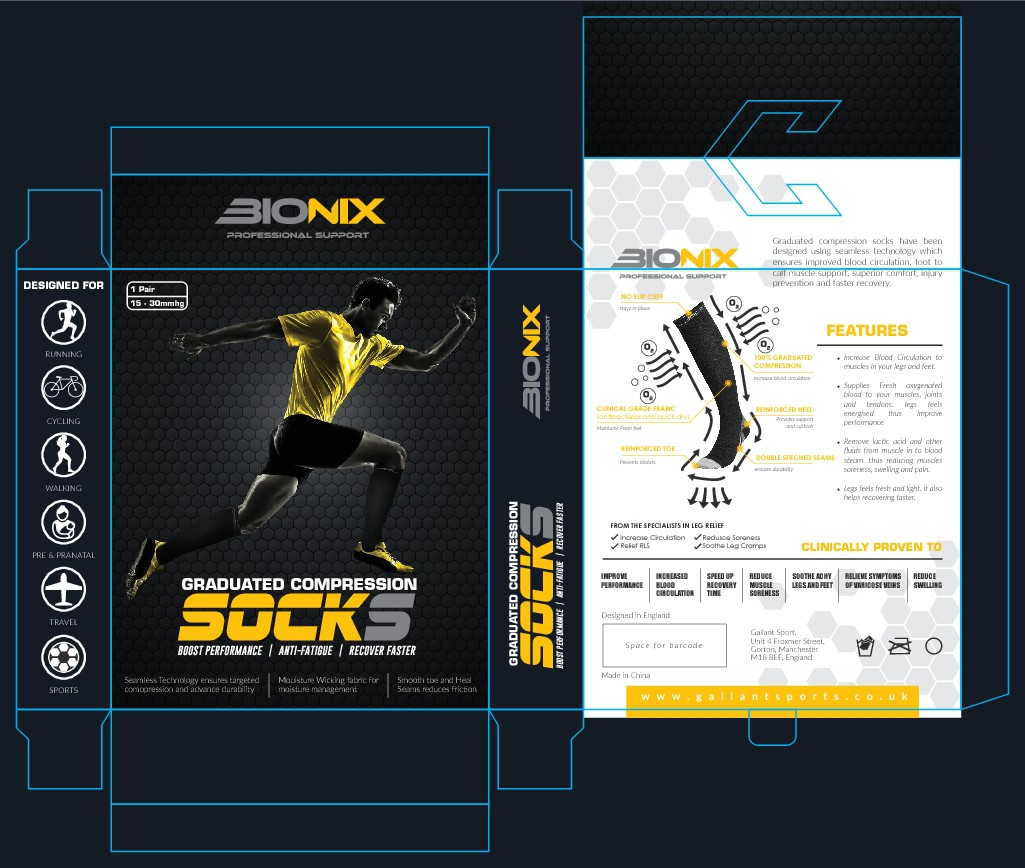 Design a modern Graduated Compression Socks Packaging
