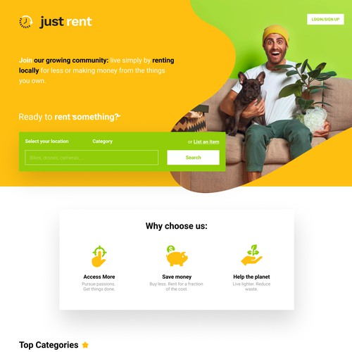 Design for renting website