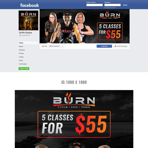 Social Media Ads and Covers for Fitness Studio