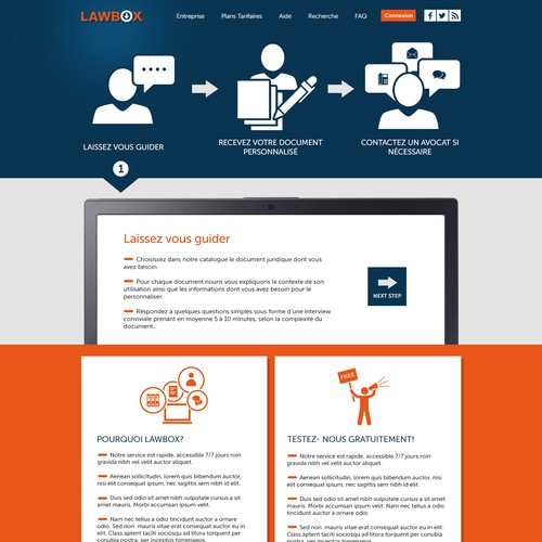 Landing page design for Lawbox