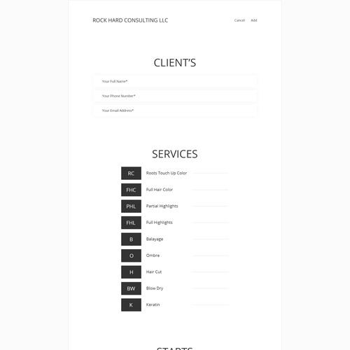 Hair Stylist App Design for Appointment Form