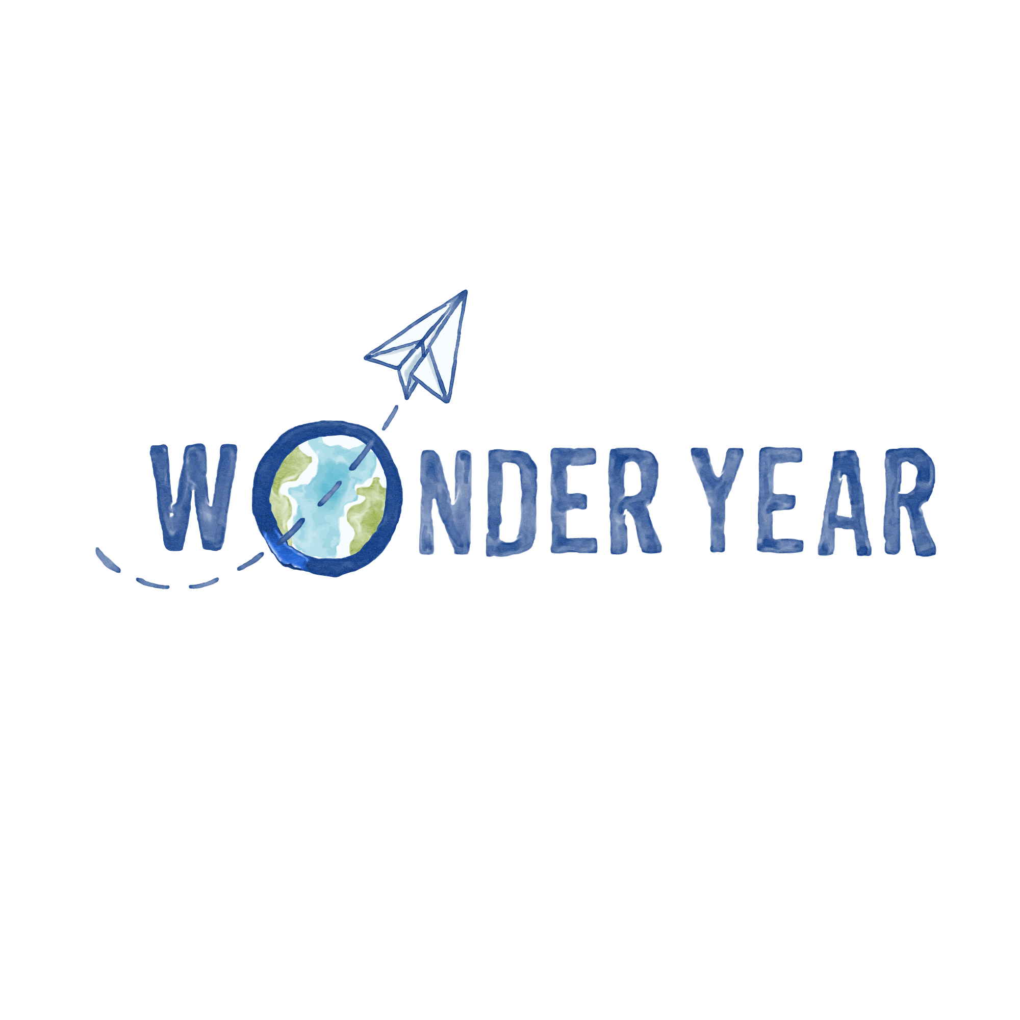 Create a logo for Wonder Year that inspires extended family travel and worldschooling