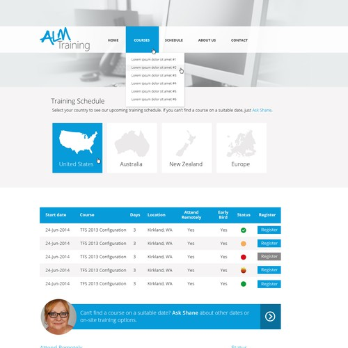 Create a clean modern website for a training company.