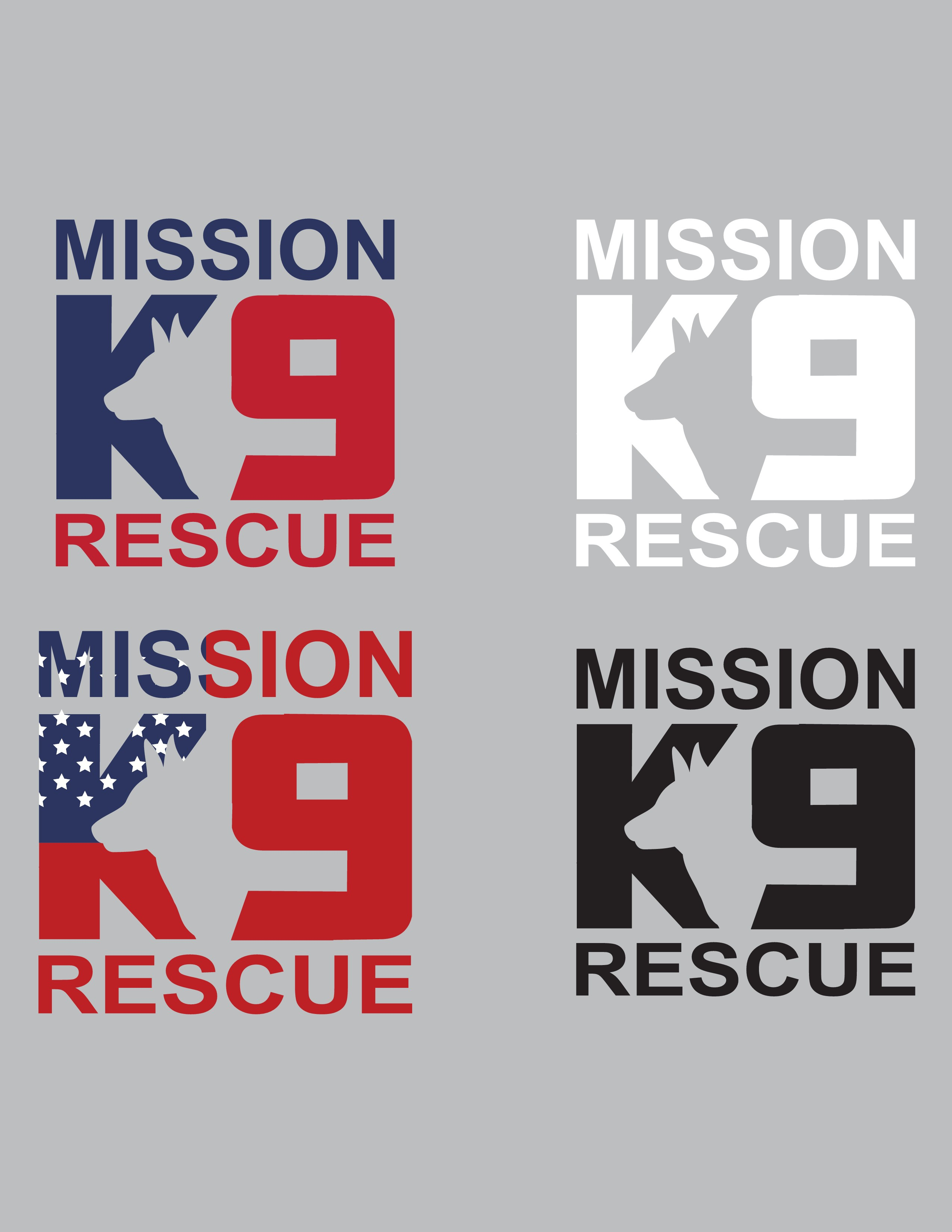 Create a working dog illustration for Mission K9 Rescue