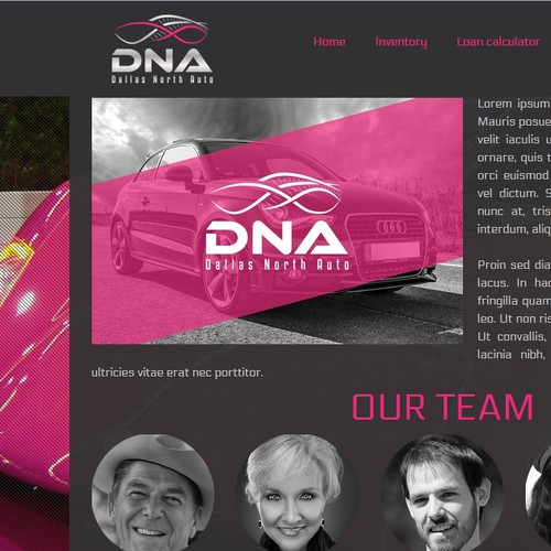 DNA logo and hosted website