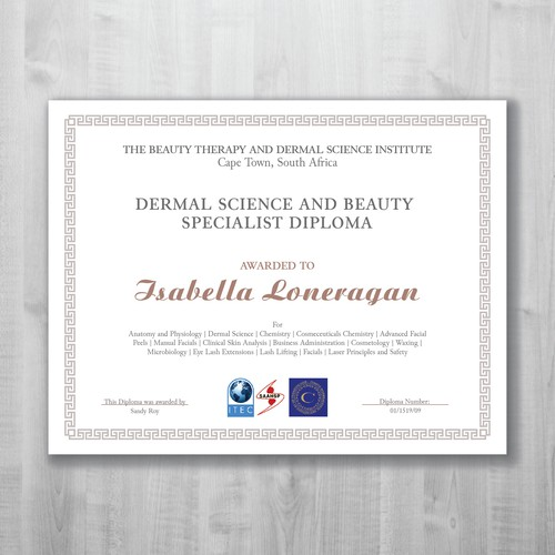 Dermal Science and beauty specialistic diploma
