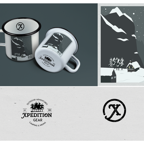 Design a vintage enamel mug for a premium camping/hiking company
