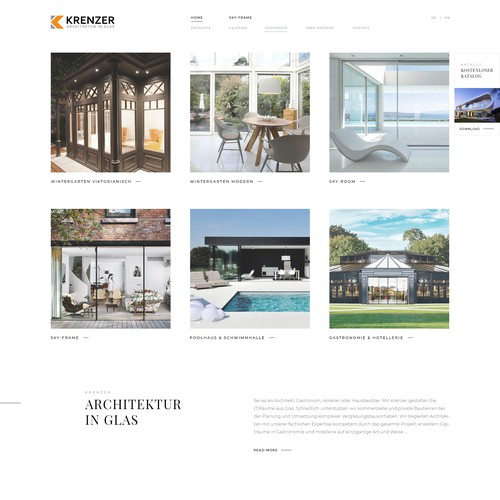 Elegant and moder website design for Krenzer GmbH