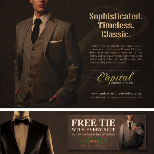 Create a direct mail piece approximately 6.25 x 9 inches for a menscustom clothier shop that feels elegant