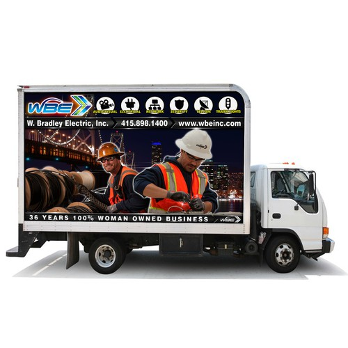 Creative wrap design for a Box Truck for W. Bradley Electric, Inc.
